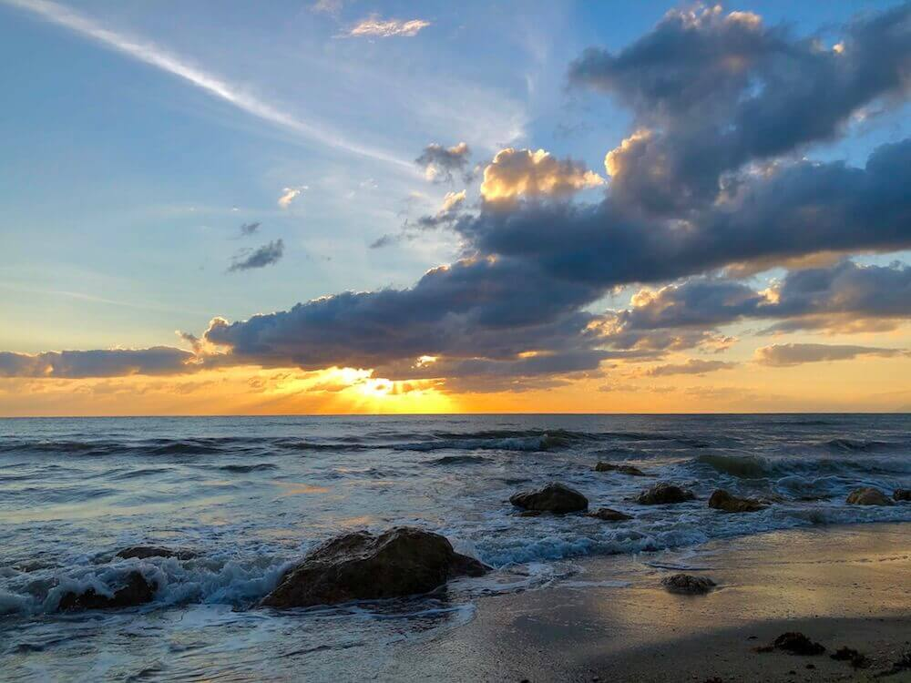 Rocky Point, Queensland: A beautiful sunset at the beach.